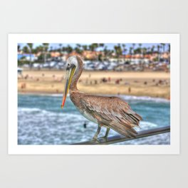 Hanging on the pier rail in Surf City. Art Print