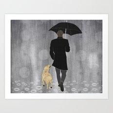 Dog walk in rain Art Print
