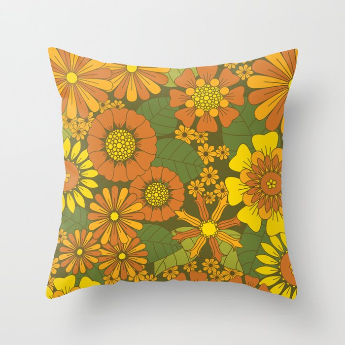 Orange, Brown, Yellow and Green Retro Daisy Pattern Throw Pillow