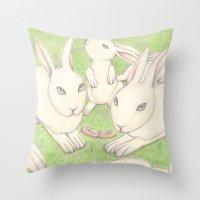 bunnies Throw Pillows featuring Bunnies by Adi Yochalis