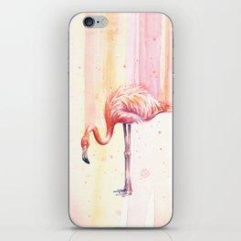 Flamingo Watercolor Flamingo Painting iPhone Skin