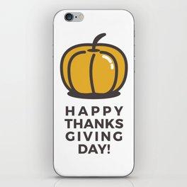 Happy Thanksgiving Day Pumpkin Design iPhone Skin