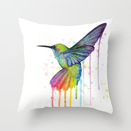 Hummingbird Rainbow Watercolor Throw Pillow