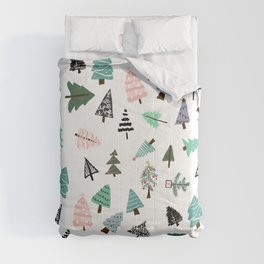 Cute whimsical Christmas trees pattern illustration Comforters