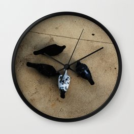 The pigeons' snack time Wall Clock