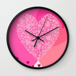 Pink and Red Hearts Wall Clock