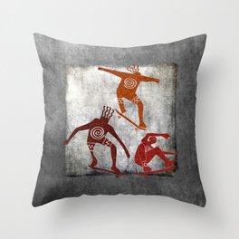 Skateboard Petroglyph Throw Pillow