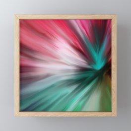 Modern teal pink white watercolor brushstrokes Framed Mini Art Print