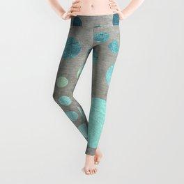 Turquoise Metallic Dots Pattern on Concrete Texture Leggings