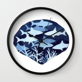 Shark Frenzy Negative Painting with white background Wall Clock