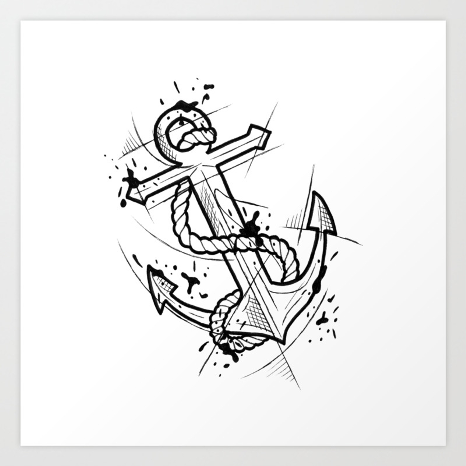 Anchor handmade drawing made in pencil and ink tattoo sketch tattoo flash blackwork art print