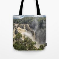 geology Tote Bags featuring Beautiful Barron Falls by Wendy Townrow