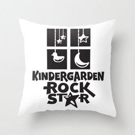 Kindergarten Rock Star Cute Childrens Illustration Throw Pillow