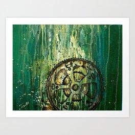 Green Bike Gears Art Print