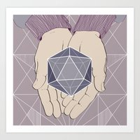 hands and geometry Art Print