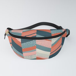 Chevron with Textures / Orange and Persian Green Fanny Pack