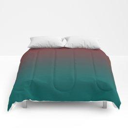 Ombre Quetzal Green Dark Red Pear Gradient Pattern Comforters