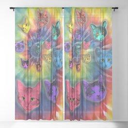 TIE DYE CATS Sheer Curtain