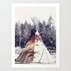 Tipi With Painted Elk And Birds Art Print