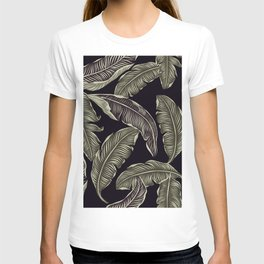 palm leaves black T-shirt