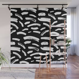 Foundry Abstract Brush Strokes White on Black Wall Mural