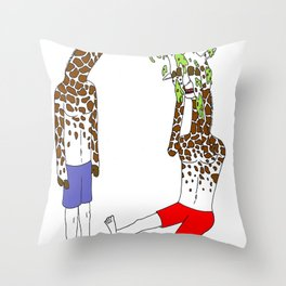 giraffe boyz Throw Pillow