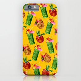 Tiki Cocktail Pattern - Yellow iPhone Case
