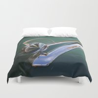 ford Duvet Covers featuring Vintage FORD Hood Ornament by Andrea Jean Clausen - andreajeanco