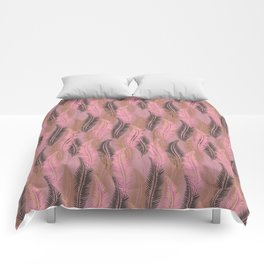 Feather Stripe in Pink & Grey Comforters