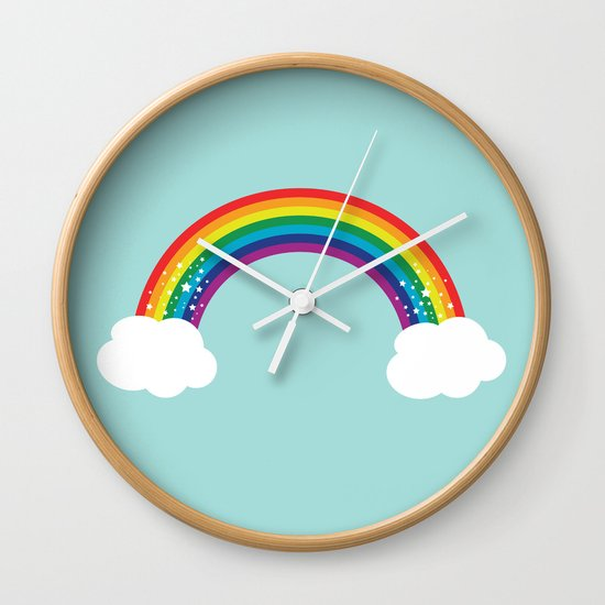 Sparkly Rainbow Wall Clock