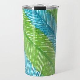 Blue and Green Palm Leaves Travel Mug