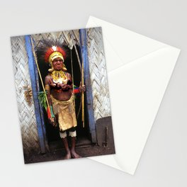 Papua New Guinea Chief in Hut Doorway Stationery Cards
