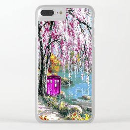 Tardis Art Cherry Blossom River Painting Clear iPhone Case