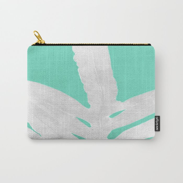 Green Fern on Ice Mint Green Inverted Silver Carry-All Pouch