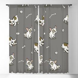 Sweet Frenchie Bulldog Puppies Pattern Grey Background Blackout Curtain