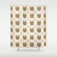 yorkie Shower Curtains featuring Yorkshire Terrier Pattern by Mari Anrua