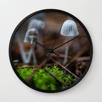 mushrooms Wall Clocks featuring Mushrooms by Michelle McConnell