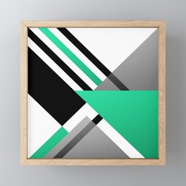 Sophisticated Ambiance - Silver & Greenish Blue Framed Mini Art Print