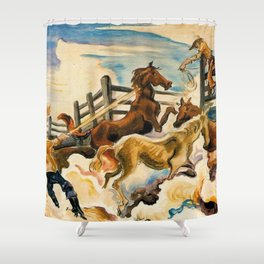 Classical Masterpiece by 'Lassoing Horses' Thomas Hart Benton Shower Curtain