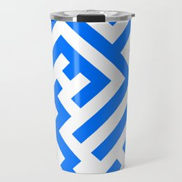 White and Brandeis Blue Diagonal Labyrinth Travel Mug