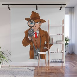 detective looking through magnifying glass Wall Mural
