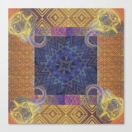 Blue Buffalo Roaming Round Canvas Print