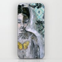 book cover iPhone & iPod Skins featuring Vintage Book Cover Girl by Jeanne Oliver