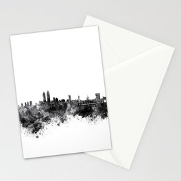 Mumbai skyline in black watercolor background Stationery Cards