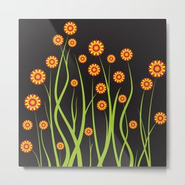 Background of the flowers on a black Metal Print