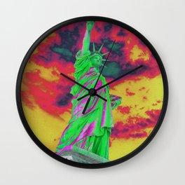 Statue of liberty green color future Wall Clock
