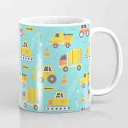 Constructon Trucks on Aqua Blue Coffee Mug