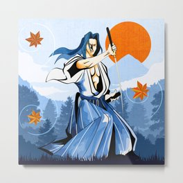 Fall maple leafs and Ukyo Metal Print