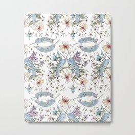 Narwhal pattern Metal Print
