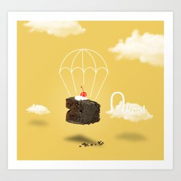 Isolated Chocolate cherry cake with parachute on yellow sky background Art Print